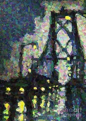 Pointilist Version Of Macdonald Bridge On A Rainy Night Art Print