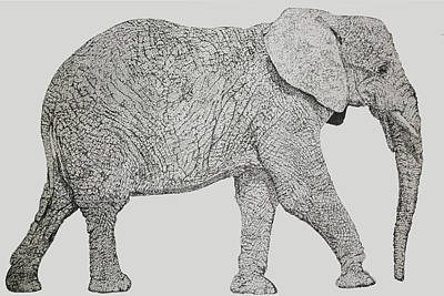 Drawing - Pointillism Elephant by Terence Leano