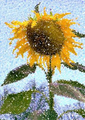 Pointillist Sunflower In Sun City Art Print by Barbie Corbett-Newmin