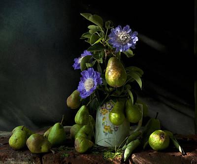 Poires Et Fleurs Art Print by Theresa Tahara