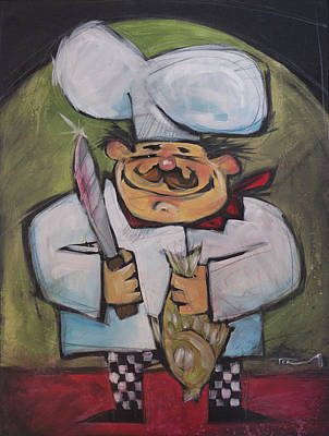 Painting - Poissonnier Fish Chef by Tim Nyberg