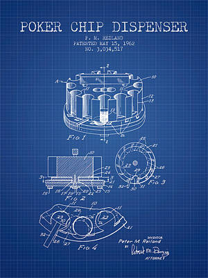 Player Digital Art - Poker Chip Dispenser Patent From 1962 - Blueprint by Aged Pixel