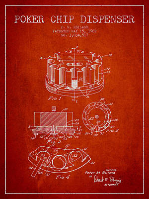 Chip Digital Art - Poker Chip Dispenser Patent From 1962 - Red by Aged Pixel