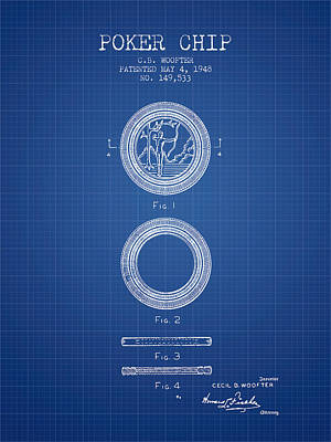 Player Digital Art - Poker Chip Patent From 1948 - Blueprint by Aged Pixel