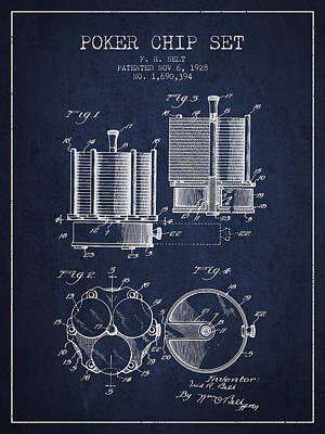 Chip Digital Art - Poker Chip Set Patent From 1928 - Navy Blue by Aged Pixel