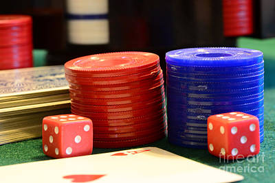 Bachelor Pad Photograph - Poker Chips by Paul Ward