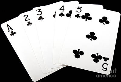 Photograph - Poker Hand Straight Flush by Gunter Nezhoda