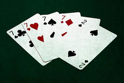 Winning Combination Photograph - Poker Hands - Four Of A Kind 2 by Alexander Senin