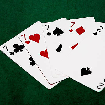 Winning Combination Photograph - Poker Hands - Four Of A Kind 2 V.2 - Square by Alexander Senin