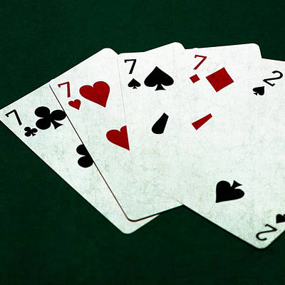 Poker Hands - Four Of A Kind - Square Art Print by Alexander Senin