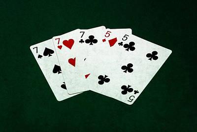 Winning Combination Photograph - Poker Hands - Full House 4 by Alexander Senin