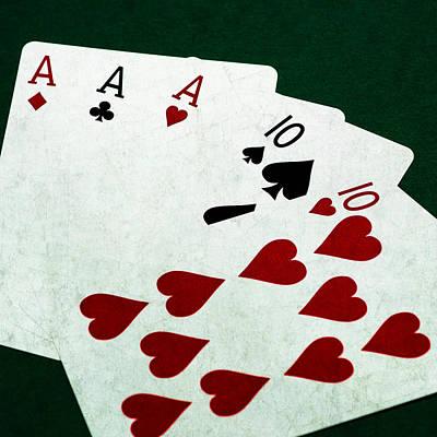 Winning Combination Photograph - Poker Hands - Full House - Square by Alexander Senin