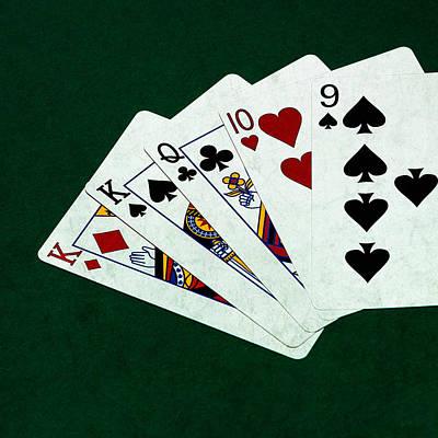 Poker Hands - One Pair - Square Print by Alexander Senin