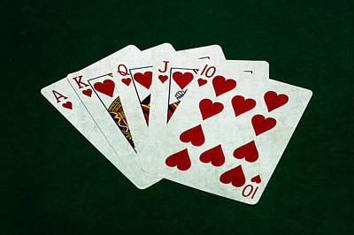 Winning Combination Photograph - Poker Hands - Royal Flush 1 by Alexander Senin
