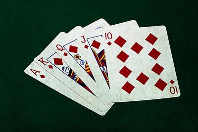 Winning Combination Photograph - Poker Hands - Royal Flush 3 by Alexander Senin