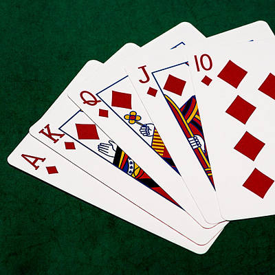Winning Combination Photograph - Poker Hands - Royal Flush 3 V.2 - Square by Alexander Senin