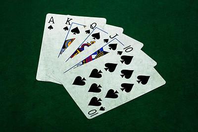 Winning Combination Photograph - Poker Hands - Royal Flush 4 by Alexander Senin