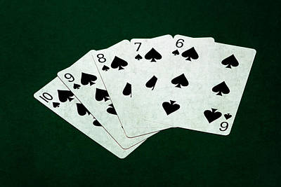 Poker Hands - Straight Flush 1 Art Print by Alexander Senin