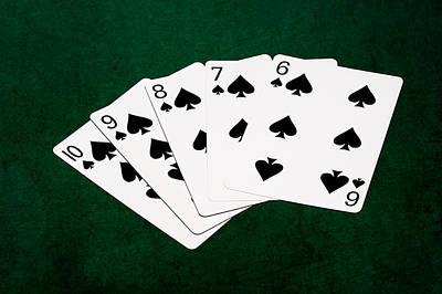 Winning Combination Photograph - Poker Hands - Straight Flush 1 V.2 by Alexander Senin