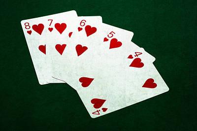 Winning Combination Photograph - Poker Hands - Straight Flush 2 by Alexander Senin