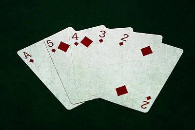Winning Combination Photograph - Poker Hands - Straight Flush 4 by Alexander Senin