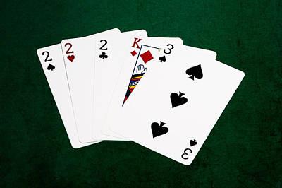 Winning Combination Photograph - Poker Hands - Three Of A Kind 1 V.2 by Alexander Senin