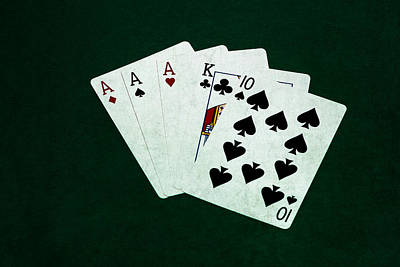 Three Of A Kind Photograph - Poker Hands - Three Of A Kind 4 by Alexander Senin