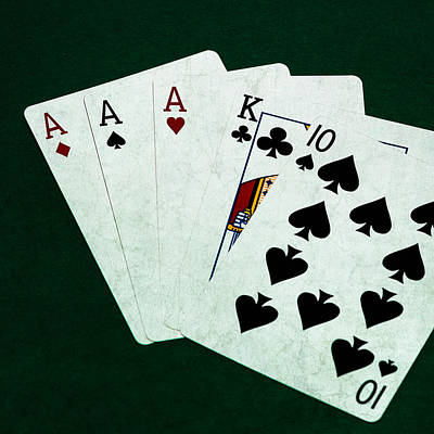 Three Of A Kind Photograph - Poker Hands - Three Of A Kind - Square by Alexander Senin