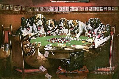 Dogs Playing Painting - Poker Sympathy by Cassius Marcellus Coolidge