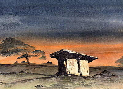 Burren Painting - Pol Na Bron Dolmen In The Burren  Clare by Val Byrne