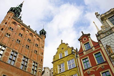 Poland, Gdansk Town Hall And Rooflines Art Print
