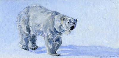 Bear Painting - Polar Bear Art Akkilokipok Soft Snow by Christine Montague