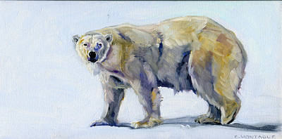Painting - Polar Bear Aurora by Christine Montague