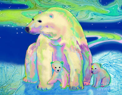 Art Print featuring the painting Polar Bear Aurora by Teresa Ascone
