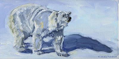 Painting - Polar Bear Art Borealis Or Boris by Christine Montague