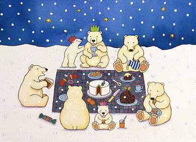 Christmas Painting - Polar Bear Picnic by Cathy Baxter