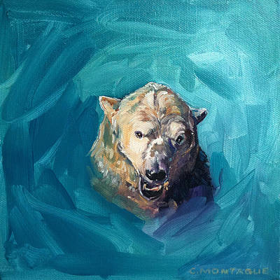 Polar Bear Portrait Painting 2. Growl Art Print by Christine Montague