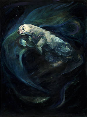 Painting - Polar Bear Swimming With The Northern Lights by Christine Montague