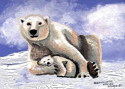 Polar Bear With Cub Original