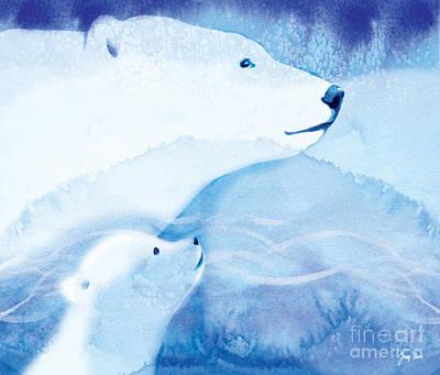 Bear Painting - Arctic Polar Bears by Tracy Herrmann