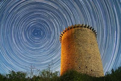 Girona Photograph - Polar Star Trails Over Tower by Juan Carlos Casado (starryearth.com)