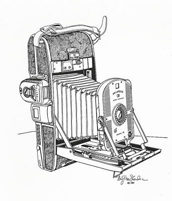Vintage Camera Drawing - Polaroid Land Camera  by Ira Shander