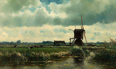 Beautiful Creek Painting - Polder Landscape With Windmill Near Acoude by Mountain Dreams