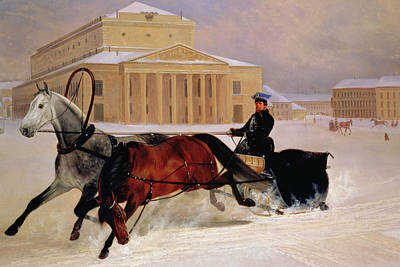 Moscow Wall Art - Painting - Pole Pair With A Trace Horse At The Bolshoi Theatre In Moscow by Nikolai Egorevich Sverchkov