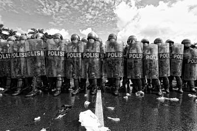 Police Photograph - Police Barricades by M Salim Bhayangkara