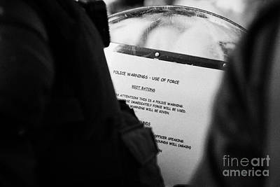 Police Baton Round  Riot Instructions On Inside Of Riot Shield On Crumlin Road At Ardoyne Shops Belf Art Print