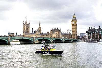 Police Boat On The River Thames Outside Parliment Print by Fizzy Image