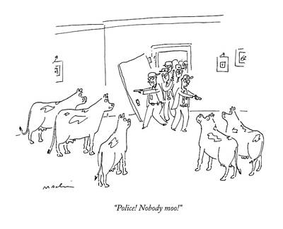 Cow Drawing - Police Burst In With Guns To A Room Filled by Michael Maslin