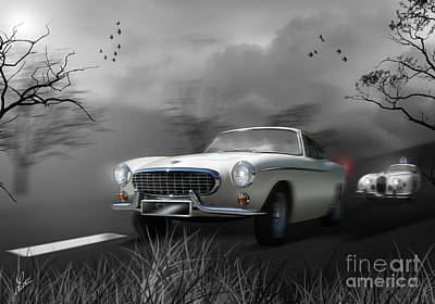 Police Car Digital Art - Police Chase 1960's Style by Linton Hart