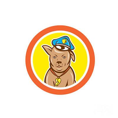 Police Dog Digital Art - Police Dog Canine Circle Cartoon by Aloysius Patrimonio